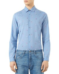 Gucci Flower Embroidered Duke Shirt Blue