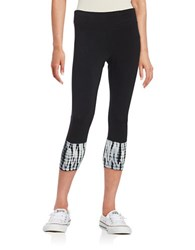 Kensie Tie Dyed Performance Cropped Leggings Black Multi