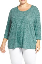 Sejour Plus Size Women's Scoop Neck Tee Teal Green