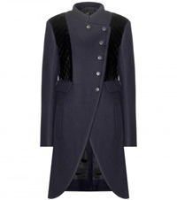 Marc By Marc Jacobs Norman Wool Blend And Quilted Velvet Coat Blue