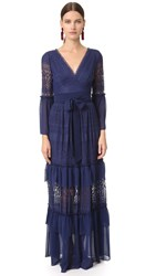 Temperley London Long Rope Lace Dress Admiral Blue
