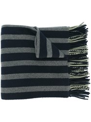Odeeh Striped Tassel Scarf Blue