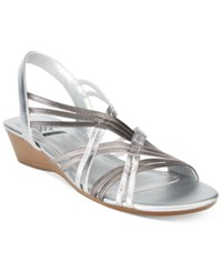 Impo Rampage Stretch Wedge Sandals Women's Shoes Pewter Silver