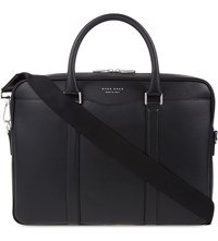 Hugo Boss Signature Textured Leather Briefcase Black