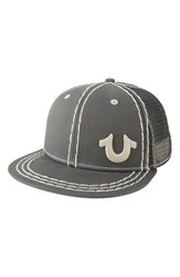 Men's True Religion Brand Jeans 'Super T' Mesh Back Baseball Cap Metallic Factory Grey