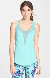 Betsey Johnson Mesh Slice Tank Fresh Teal