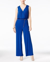 Thalia Sodi Surplice Belted Jumpsuit Only At Macy's Lazulite