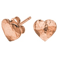 Dower And Hall Hammered Flat Heart Earrings Rose Gold