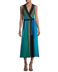 Diane Von Furstenberg Penelope Colorblock Wrap Silk Jersey Maxi Dress Deep Nt Olive Sea