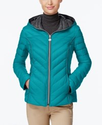 Nautica Reversible Hooded Packable Puffer Coat Only At Macy's Tourmaline Chrome