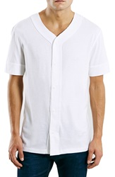 Topman Button Front Baseball Jersey White