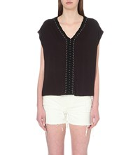Allsaints Aria Cropped Jersey T Shirt Black