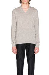 Maison Martin Margiela Jersey V Neck Sweater With Elbow Patches In Gray