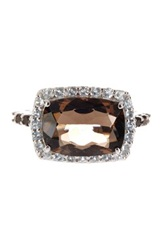 Olivia Leone Sterling Silver Cushion Smoky Topaz And Round Blue Topaz Ring Brown