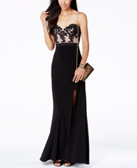 Jump Juniors' Contrast Sequin Lace Sweetheart Gown Nude Black