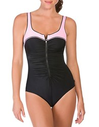 Reebok Zip Tide One Piece Swim Suit Black Pink