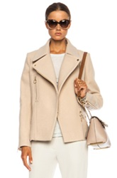 Chloe Chloe Washed Wool Moto Jacket In Neutrals