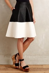 Anthropologie Colorblock Circle Skirt Black And White