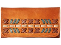 American West Mohican Melody Trifold Wallet Golden Tan Antique Brown Wallet Handbags