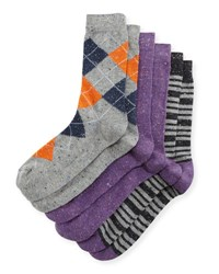 Neiman Marcus Three Pair Wardrobe Sock Set Assorted Purple Gray
