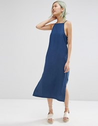 Asos Denim Premium Textured Minimal Midi Dress Dark Stonewash Blue