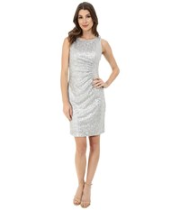 Calvin Klein Sheath With Side Ruching Dress Silver Women's Dress