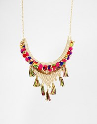 Glamorous Pom Pom And Tassel Necklace Gold Multi