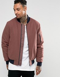 Asos Wool Mix Bomber Jacket With Ma1 Pocket In Rose Rose Pink