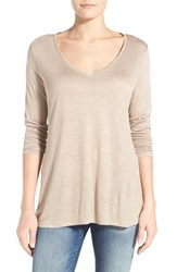Women's Two By Vince Camuto Slub Knit Side Slit High Low Tee Mocha Tan