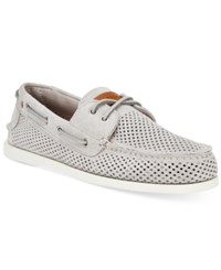 Tommy Hilfiger Men's Bowman 3 Perforated Boat Shoes Men's Shoes Grey Suede