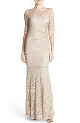 Xscape Evenings Women's Illusion Yoke Lace Mermaid Gown Light Taupe