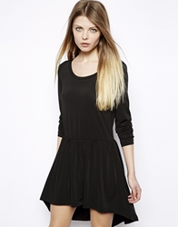 Vila Dip Hem 3 4 Sleeve Skater Dress Black