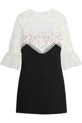 Self Portrait Floral Embroidered Organza And Crepe Mini Dress Black White