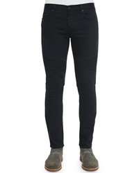 Vince Stretch Resin Coated Moto Jeans Black Women's