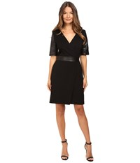 The Kooples Short V Neck Dress Leather Sleeves And Belt Black