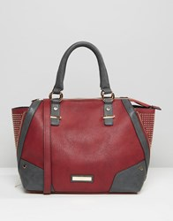 Dune Studded Tote Bag With Zipable Gusset Berry Grey Red