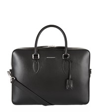 Burberry Shoes And Accessories Hambleton Saffiano Leather Briefcase Unisex Black