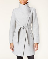 Jessica Simpson Faux Leather Trim Asymmetrical Belted Wrap Coat Grey
