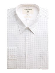 Racing Green Kennedy All Over Print Formal Shirt White