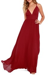 Lulus Women's Plunging V Neck Pleat Georgette Gown Wine