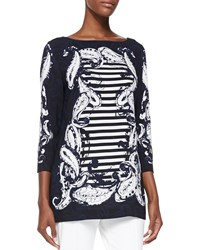 Escada Striped Paisley Tunic Navy