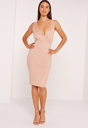 Missguided Faux Suede Plunge Midi Dress Pink Red