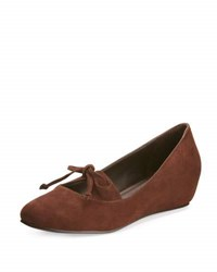 Bernardo Norie Suede Wedge Flat Chocolate