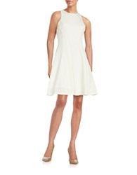Maggy London Jacquard Fit And Flare Dress Ivory