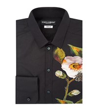 Dolce And Gabbana Embellished Flower Shirt Male Blue