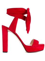 Jimmy Choo Kaytrin 120 Suede Platform Sandals Red
