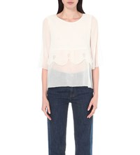 See By Chloe Layered Woven Top Natural White