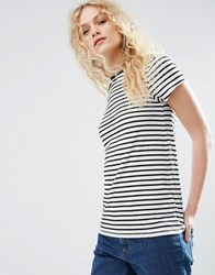 Asos Crew Neck T Shirt In Stripe Black White Multi