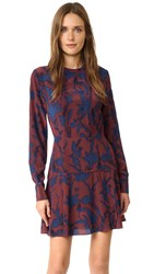 Tanya Taylor Floral Silk Odette Dress Rust Royal