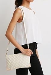 Forever 21 Quilted Faux Leather Convertible Crossbody Cream